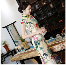 Wholesale Silk Lace Cheongsam - 2017 short sleeve long dress Qipao Silk Chinese Dress chinese style elegant cheongsam dress