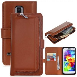 Wholesale Samung Galaxy Covers - 3 in 1 Kickstand PU Leather Wallet Flip Cellphone Cases Cover Magnetic Zipper Closure Skin For Samung Galaxy S5
