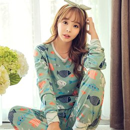 Wholesale Pajama Sets For Girls - Wholesale- New hot 2016 Spring Autumn Womens Pajama Sets O-Neck Long Sleeve Women Sleepwear Pajamas girls nightgown for woman free shipping