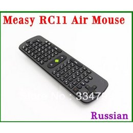 Wholesale Tv Version Tablet - Wholesale- [Genuine] Measy RC11 fly Air Mouse Keyboard Russian Version Gyro Handheld 2.4G Wireless Remote Control For Tv Box Tablet Mini PC