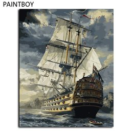 Wholesale Paint Number Kit Oils - Hot Selling Framed Sailing Boat DIY Oil Painting By Numbers Kit Paint On Canvas Home Wall Art Picture GX6923 40*50cm