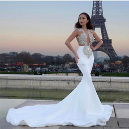 Wholesale Lace Plunging Sexy Wedding Dress - Mermaid Wedding Dresses 2017 Illusion Sexy Plunging Jewel Sleeveless with Beaded Appliques Trumpet Chapel Train Bridal Gowns