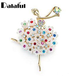 Wholesale Flower Dancers - Fantacy Brooch Pin Multicolor Crystal Flower Skirt Ballet Dancer Clothes Accessories Floral Brooches For Wedding Bridal Z016