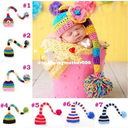 Wholesale Long Tail Elf Hat - Christmas Beanies Newborn Pixie Elf Long Tail Crochet Knitting Cap Costume Newborn Photography Props 7 Colors for choice
