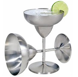 Wholesale round martini glasses - Stainless Steel Double Walled Margarita Glass Fashion Martini Cup Creative Wine Glass Goblet Glass Anti-broken Drinkware Bar Tools