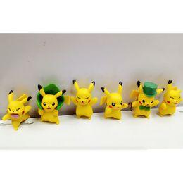 Wholesale Model Figures Cartoon - 6 Styles Poke mini Figure Toys 4-5cm pikachu modle toys decoration Kids cartoon Pikachu models Ornaments
