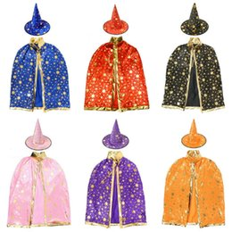 Wholesale Kids Wizard Costume - Halloween Cap Prop Dress Kids Costumes Children Hat Robe Witch Wizard Cloak Gown and for Star Costume Party Decoration Christmas