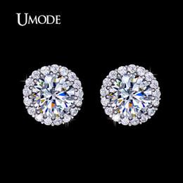 Umode ohrringe online-UMODE Fashion Hearts Arrows Perfect Cut Zirkonia Kristall Ohrstecker für Frauen Schmuck Drop Shipping 2016 UE0096