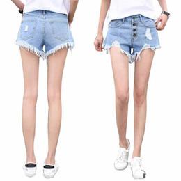 Wholesale Denim Fat Pants - Fashion Women High Waist Buckle Hole Denim Shorts Fat Mm Large Size Casual Wide Leg Pants Sexy Fluffy Pants Hot Pants