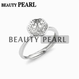 5 Stück Ring Blank Basisperle Einstellungen Zirkon 925 Sterling Silber für 8-9mm Runde Perlen und Cabochons von Fabrikanten