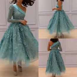 vestido de hortelã floral Desconto Um Ombro Vestidos de Baile Menta Verde 3D Floral Apliques Vestidos de Noite Mangas Compridas Tornozelo Comprimento A Linha Vestidos