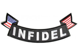 Wholesale Military Motorcycle Patches - FREE SHIPPING WHOLE SALE LARGE INFIDEL BOTTOM ROCKER WITH USA FLAGS MOTORCYCLE MILITARY BIKER BACK PATCH