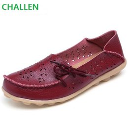 Wholesale White Nurses Shoes - Plus Size 2017 Ballet Summer Cut Out Women Genuine Leather Shoes Woman Flat Flexible Round Toe Nurse Casual Fashion Loafer