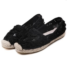 Wholesale Pale Pink Flower - Women's Flats Shoes 2017 New Summmer Espadrilles Flower Cute Lace Loafers Women Flat Shoes Hemp Bottom Fisherman Shoes Pale Pink