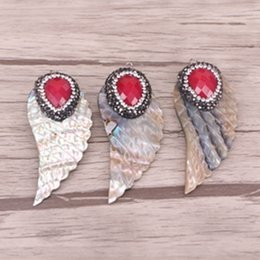 Wholesale Rainbow Druzy - 5pcs Rainbow Abalone Shell Pendant, Wings shape Seashell Druzy Pendant, With Pave Crystal and Red Faceted Gemstone Pendant