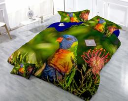 2019 edredons de marfim Desenhos personalizados podem ser personalizados 3D colorido papagaio impressão digital de algodão de cetim 4-Piece capa de edredão define conjuntos de cama