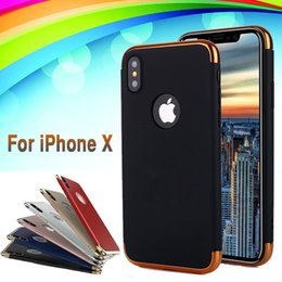 Wholesale Iphone Frosted - 3 in 1 Case Matte Frosted Shockproof Electroplating Hard Plastic Back Cover Armor Case For iPhone X 8 7 Plus 6 6S Samsung Note 8 S8 Xiaomi 6