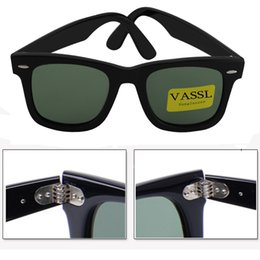Wholesale Butterfly Case Metal - Free shipping Vassl Top quaity Bright black Hinge Metal Frame Green 50mm Glasses Womens Sunglasses 50mm UV400 sun glasses For Brown Case