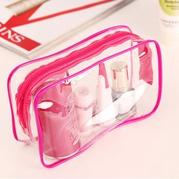 Wholesale Clear Plastic Makeup Bags - Wholesale- 1PC New Clear Transparent Plastic PVC Bags Travel Makeup Cosmetic Bag Toiletry Zip Pouch 3 Colors Toiletry Bag Women
