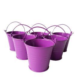 Wholesale Wholesale Metal Easter Pails - D6*H5CM Cheap deep purple Metal Favor Pail Tin bucket party Decorative wedding favor holders Mini pail candy holders