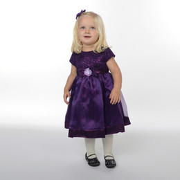 Wholesale Lining Shirt Prices - Lower price of Purple A-line Jewel Short Sleeves Tea-length Tulle Flower Girls Dresses with Lace FLD063 Girls Paggeant Dresses on sale
