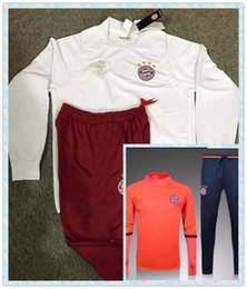 Wholesale Men S Slim White Suit - 2017-16 Bayer Munich Sweatshirt Men Hoodies Training Suit Sportsware Tracksuit White Orange Uniforms Kit Tracksuits hooded jacket with pants