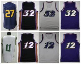 Wholesale 32 Shorts - Men Basketball Retro #32 Karl Malone #11 Exum #12 John Stockton #27 GOBERT Purple White Throwback Jerseys Short