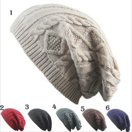 Wholesale Rain Gardens Design - Unisex New Design Caps beanie Twist Pattern Solid Color Women Winter Hat Knitted Sweater Fashion Hats 6 colors YYA590