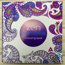 Wholesale Wholesale Drawing Paper - Zen Mandalas 128 Pages 21x21cm English Edition Coloring Drawing Book Children Adult Graffiti Painting Drawing Book Relieve Stress Kill Time