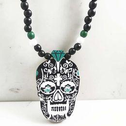 Wholesale Good Wood Necklace Skull - Skull Pendant Good Wood Hip-Hop Casual NYC Men Punk Rock Necklace #ASW05