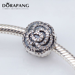 Wholesale Clip Lock Beads Round - DORAPANG Rose Silver Clip With Clear CZ 925 Sterling Silver Flower Lock Stopped European Beads Fit Bracelets Bangle&Necklace 3026
