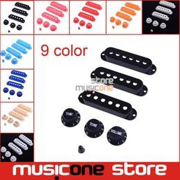 Wholesale Pickup Covers - Wholesale- Multi color 1 Set Plastic Single Coil Electric Guitar Pickup Cover 1 volume 2 Tone speed control Knob Guitar Switch tip