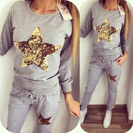 Wholesale Top Brand Women S Suits - 2016 Autumn Two Piece Set Top and Pants Women Suits Two Piece Set American Apparel Women Clothing Plus Size S to XL Brand Custom