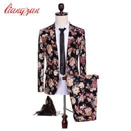 Wholesale Flattering Plus Size Dresses - Wholesale- (Jackets+Pants) Men Floral Fashion Suit Sets Slim Fit Tuxedo Party Dress Suits Brand Cotton Plus Size M-5XL Wedding Suits F2108
