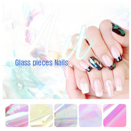 Wholesale Finger Nail Decorations - 1pcs New Super Shiny Broken Glass Finger Nail Art Stickers Foils Paper DIY Beauty Nail Decorations