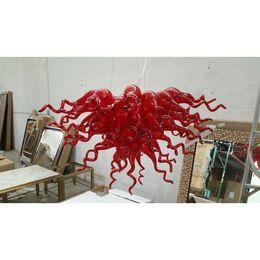 2019 araña de lindsey adelman Longree precio barato de calidad excelente Rojo soplado lámpara de cristal de luz LED Moderno mano soplado de cristal araña de cristal de Murano