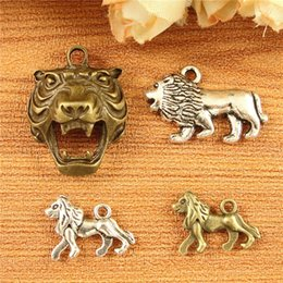 Wholesale Diy Bracelets Materials - DIY bronze jewelry accessories material color Yinfu ancient animal charms lion pendant for bracelet and necklace, tibetan silver dangle bulk