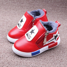 Wholesale Cartoon Clogs - New Cartoon Rabbit Ear Leather Red Black Winter Warm Clog Mule Shoes Plus Velvet Warmthly Children Boots Girls Snow Boots Thicken Shoes