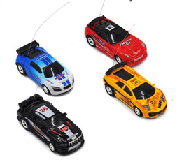 Wholesale Motor Black Toy - Wholesale 48pcs lot Mini RC Racing Coke Can Car 1:64 4CH Radio Remote Control Vehicle LED Light Toys for Kids Xmas Gift