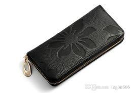 Wholesale Yellow Flower Purse - Women Wallets Fashion Flower Print Genuine Leather Wallets Women Clutch Wallets Lady Vintage Clutch Bag Coin Purse G113