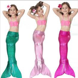 Wholesale Green Fancy Dress Costumes - 3Y-9Y Baby girl kids Mermaid Tail fancy green Dress Girl Mermaid Tail custome Swimmable Bikini Set Bathing Suit Cosplay Costume