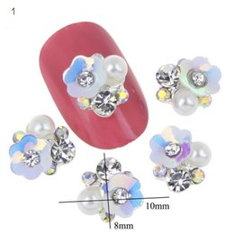 Wholesale Nail Stones Gems - 10pcs lot NEW 3D Gem Stone Flowers Nail Charms Pearl Crystal Nail Art Decorations Glitter Rhinestones Nails