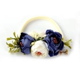 Wholesale Ivory Headbands - Ivory Nylon Flower Headband Peony Flower Floral Headband Infant Hair Accessory One size fits More 1pcs lot