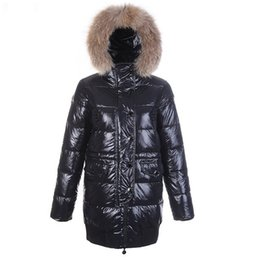 Wholesale Glossy Down - Winter Down Coat for Women Raccoon Fur Fashion Jacket Loire Hooded Clothes Brand Glossy Warm Outwear Parkas Style High Quality