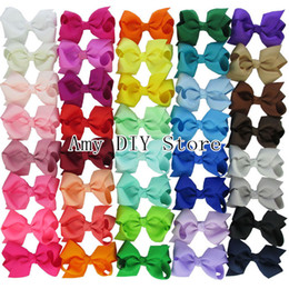Wholesale Ribbon Accesories - Wholesale- Free Shipping 40pcs lot 40 Colors Baby Girl Grosgrain Hair Ribbon Bows With Alligator Clips Boutique Hairclips Hair Accesories