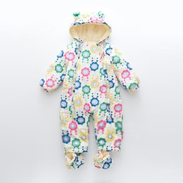 Wholesale White Onesies Newborn New - New Winter Flower Printed Baby Rompers Hooded floral Girl Jumpsuit One Piece Clothing Baby Onesies Newborn Romper Infant Clothes A838