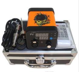 Wholesale Nail Dryer Kits - Menovo Portable E Electric Dab Titanium Nail Rig Vape Wax Dabber Coil Heater Box Device For Dry Herb Vaporizer Kit