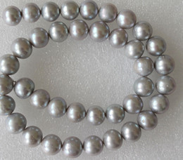 Wholesale Large Bead Pearl Necklaces - Fine pearls jewelry Large Lustrous AA Silver Grey Pearl Round Beads 11-12mm 18inches