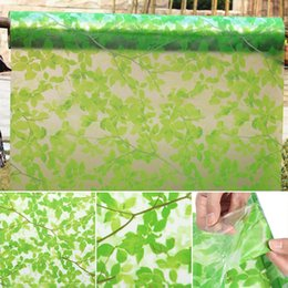 Wholesale Window Privacy Film - New Adhesive Leaves Privacy Glass Frosted Window Film Sticker Green Window Films For Home Decoration 45x200cm