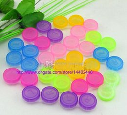 Wholesale Contacts Case Kit - 100pcs=100sets Colourful Contact Lens Box Holder Container Case Soak Soaking Storage Eye Care Kit Double Case Lens Cases Free DHL shipping